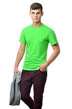 Бавовняна футболка чоловіча приталені однотонна зелена салатова