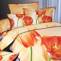 """""""Тюльпан"""" Евро размер постельное белье 3D ELWAY (Польша), 200/220 см, 4 наволочки, ткань сатин (100% хлопок)."""