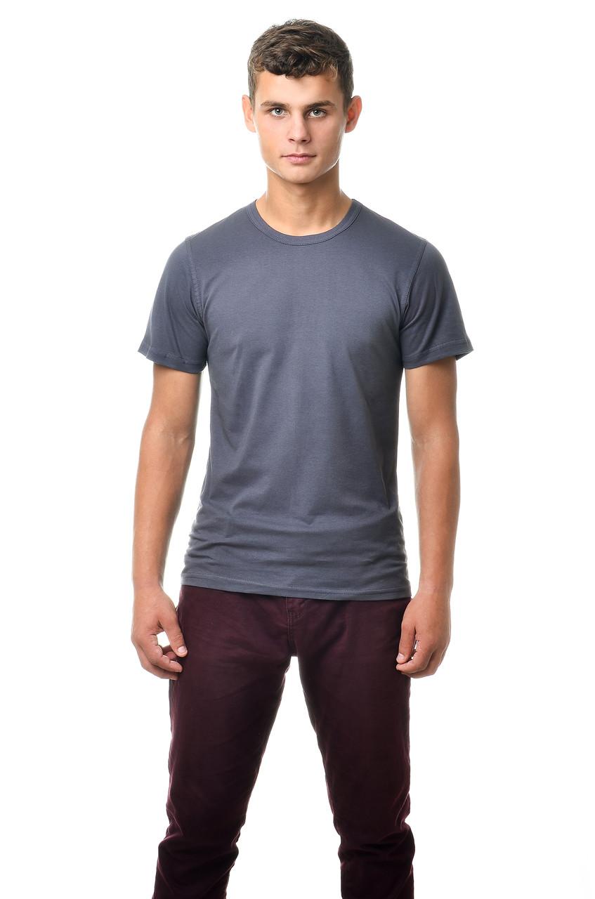 Мужская футболка хлопковая натуральная темно-серая