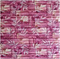Самоклеющаяся декоративная 3D панель бамбуковая кладка Розовая
