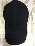 Черная  бейсболка трикотажная с белым  и синим кантом на козырьке 56-58-60, фото 7