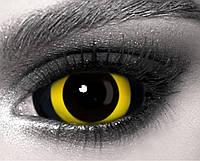 Склеры Хоррор Yellow, черно-желтые склеральные линзы 22 мм. (N0058)