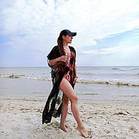 Большой размер 56. Женская пляжная одежда, черный кружевной халат для женщин, пляжная накидка