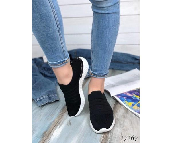 Кроссовки без шнурков текстильные,прозрачные вставки