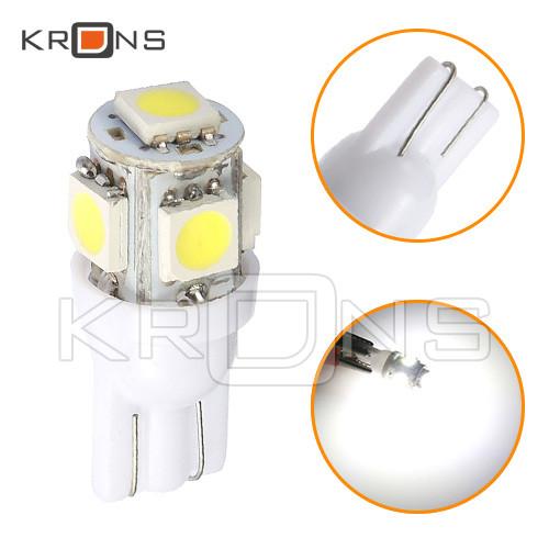 Лампа в автомобиль 2шт LED T10 W5W, 4+1 SMD