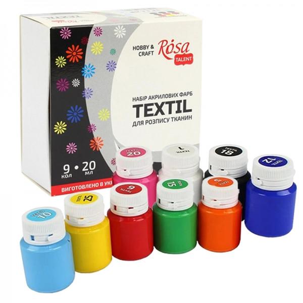 Набор красок для росписи по ткани ROSA, 9 цветов, 20 мл.