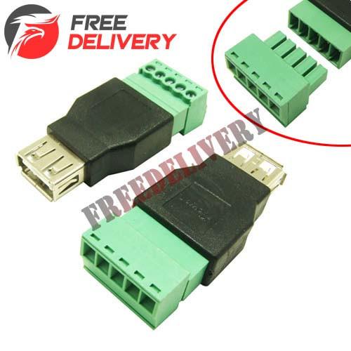 Переходник USB 2.0 Type-A гнездо разъем мама - клеммники 5pin