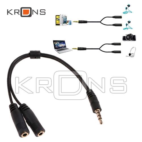 Спліттер кабель для гарнітур 2x1 3.5 мм джек для ноутбука з 1 гніздом