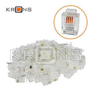 100x Коннектор RJ11 RJ12 RJ14 6P4C телефонный