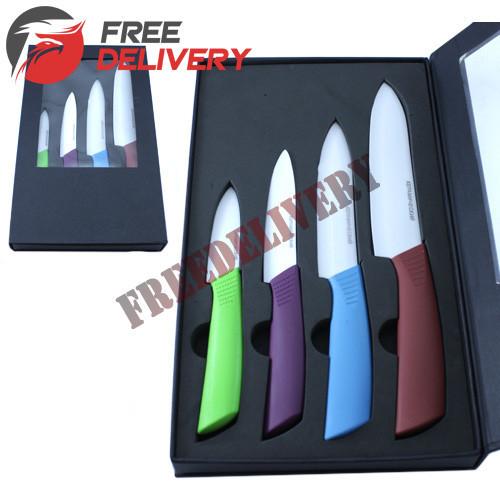 Набор керамических ножей 4шт в подарочной коробке