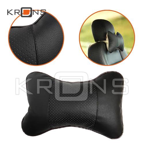 Подушка на подголовник сиденья автомобиля, экокожа, черная