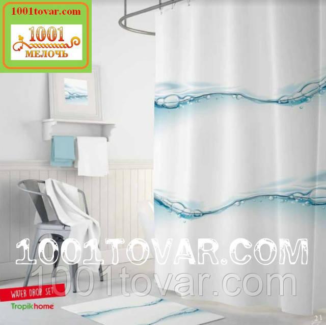 """Тканевая шторка для ванной комнаты """"Water drop"""" (капля воды) Tropik Home, размер 180х200 см., Турция"""