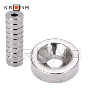 Магниты неодимовые 10шт. крепежные 18x4мм N50 с отверстием зенковкой 5мм