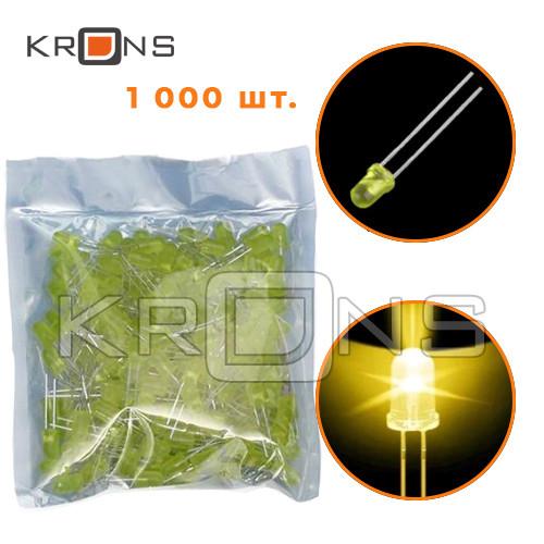 LED светодиод 1000шт 5мм 2-2.3В 20мА, желтый