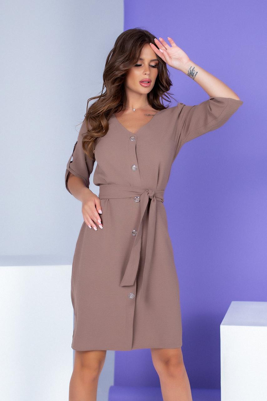 Арт. 400 Летнее платье на пуговицах с поясом светло-коричневое/ кофе с молоком