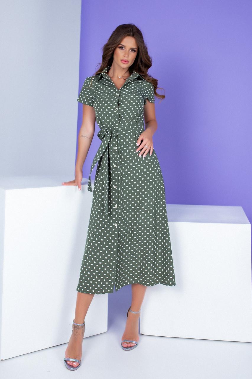 Арт. 402 Платье миди зеленое в горох