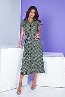 Арт. 402 Платье миди зеленое в горох, фото 1
