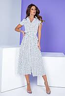 Арт. 402 Платье приталенное белое в горох