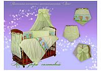 Детский постельный комплект Quatro Lux 8 элементов.(Лесные Звери салатовый)