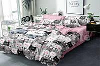 Постельный комплект из сатина Коты и розовый,  хлопок 100%