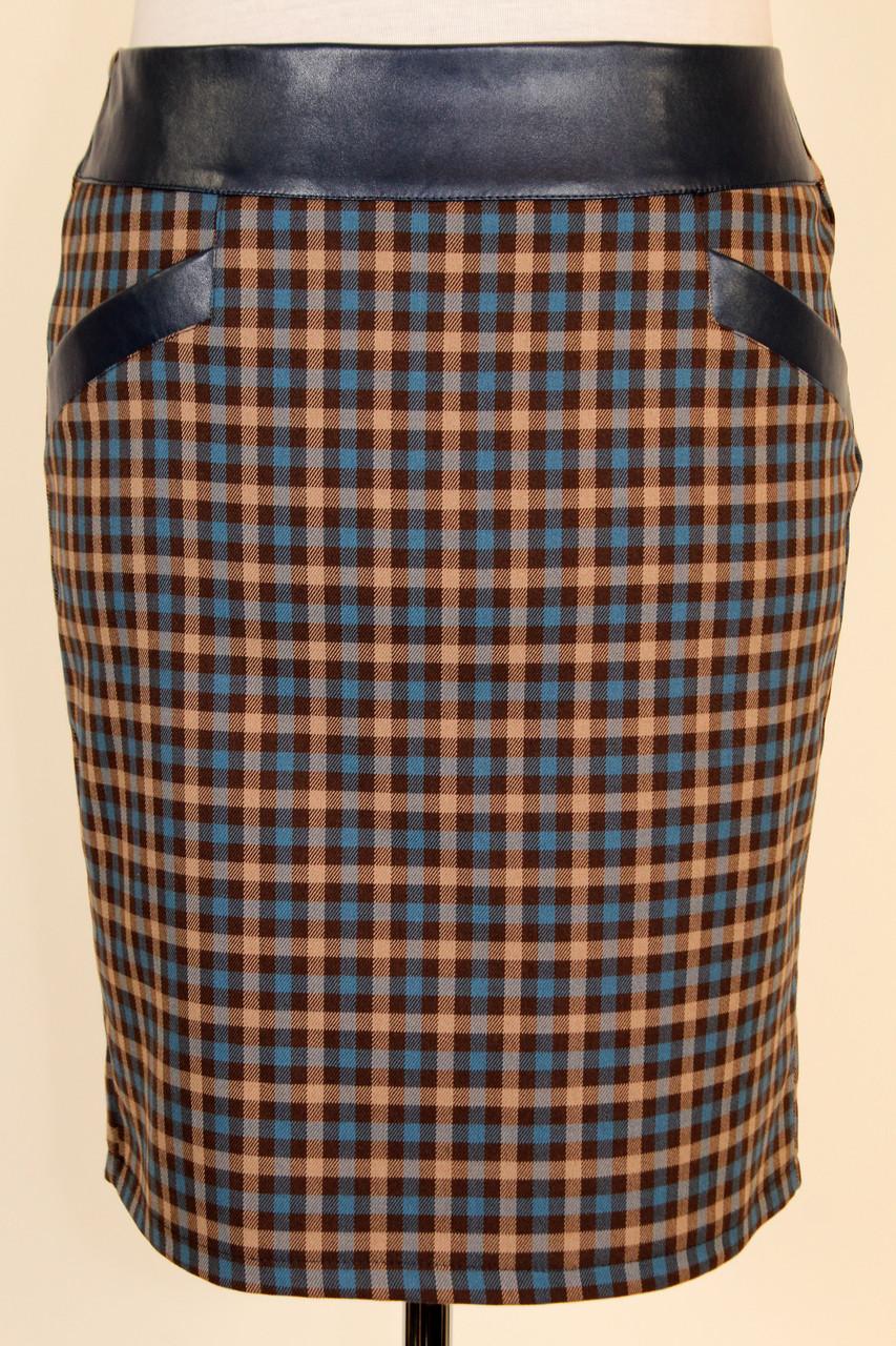Модная теплая юбка в клетку с кожаным поясом 50 р