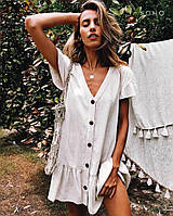 Пляжна бавовняна біла парео туніка-сукня гудзики S-L   пляжная хлопковая туника-платье пуговицы белая 42-46