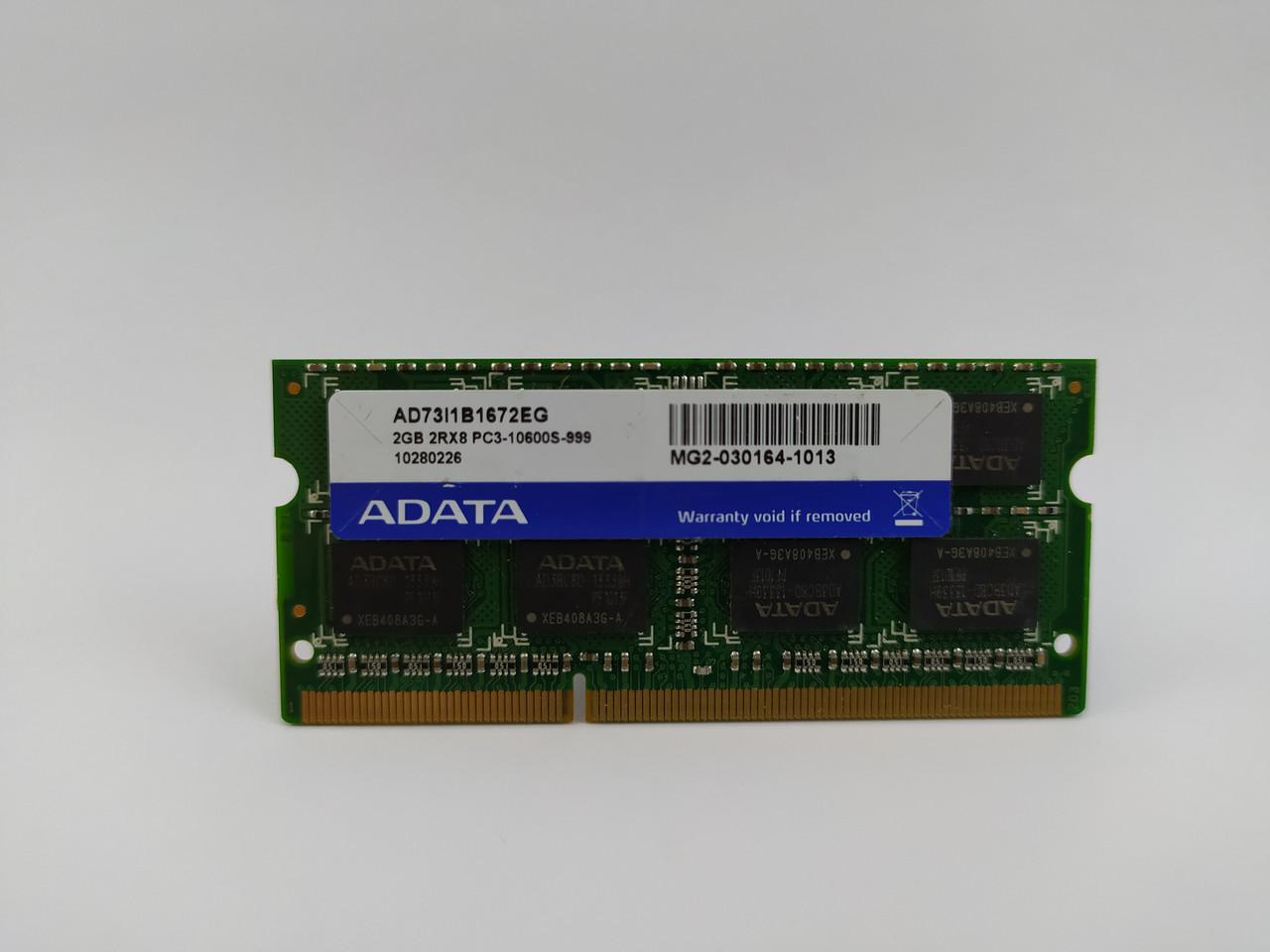 Оперативная память для ноутбука SODIMM ADATA DDR3 2Gb 1333MHz PC3-10600S (AD73I1B1672EG) Б/У
