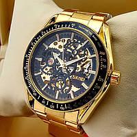 Водонепроницаемые оригинальные механические наручные часы скелетоны Skmei 9194 золотого цвета с автоподзаводом