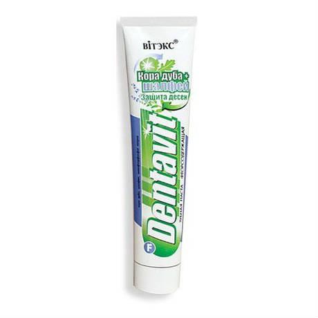 DENTAVIT Зубная паста фторсодержащая - Кора дуба+шалфей Защита десен, 160 г