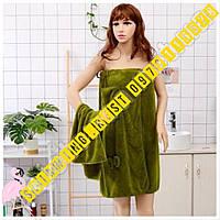 Женский набор для бани и сауны полотенце халат + полотенце для лица