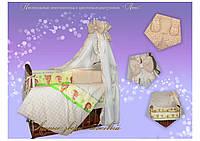 Детский постельный комплект Quatro Lux 8 элементов.(Лесные Звери бежевый)