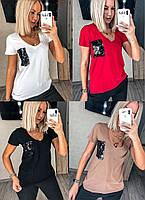 Женская футболка с карманом №112 (р.42-52) в расцветках, фото 1