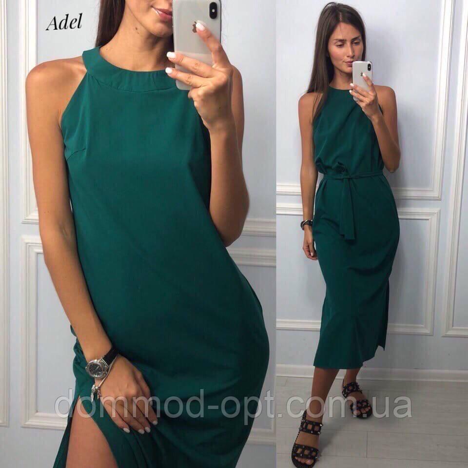 Стильне жіноче літнє плаття з поясом №124 (р. 42-52)