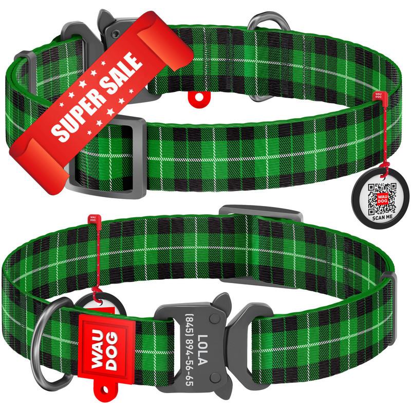 Ошейник для собак нейлоновый WauDog Nylon Шотландка зеленая, площадка для гравировки и адресник, обхват шеи - 31-49 см, ширина - 25 мм