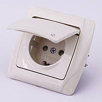 Розетка электрическая VI-KO Carmen скрытой установки одинарная с крышкой и заземлением (кремовая)
