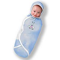 Пеленка-конверт фланель голубая на липучке 100 % хлопок Deep Sleep Flanel #1 от 0 до 3 мес - ART-0000016