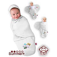 Пеленка-конверт трикотаж белый на липучке Deep Sleep #3, Summer+, от 0 до 3 мес, рост до 60 см - ART-0000028