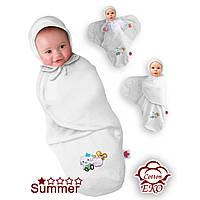 Пеленка-конверт трикотаж белый на липучке Deep Sleep #3, Summer, от 0 до 3 мес, рост до 60 см - ART-0000029