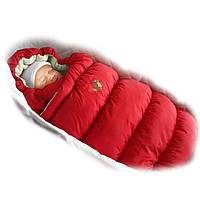 Пуховый конверт INFLATED Овчина, красный, болонь, шарики Fluffy balls  LUX - ART-0000076