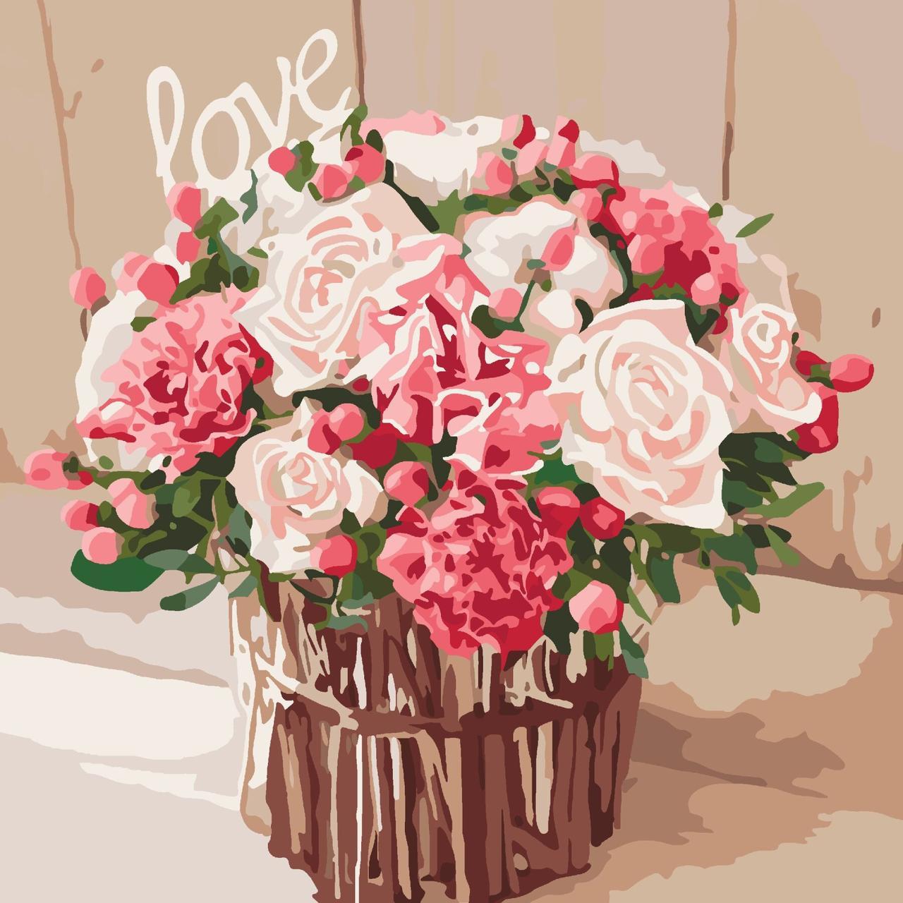 КНО2074 Раскраска по номерам Розы любви, Без коробки