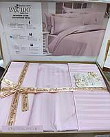 Однотонное сатиновое постельное белье, с четырьмя наволочками, розовый, By Ido , Турция