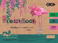 Скетчбук А5, 40 аркушів, пружина, білий блок 100 г/м2, зелений, ART Line