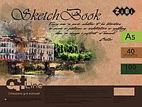 Скетчбук А5, 40 аркушів, пружина, білий блок 100 г/м2, коричневий, ART Line