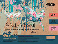 Скетчбук А5, 40 аркушів, пружина, білий блок 100 г/м2, т.-бірюзовий, ART Line