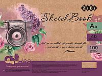Скетчбук А5, 40 аркушів, пружина, білий блок 100 г/м2, фіолетовий, ART Line
