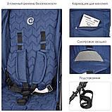 Всесезонная детская прогулочная коляска-книжка El Camino My Way  синий цвет + чехол на ножки, фото 5