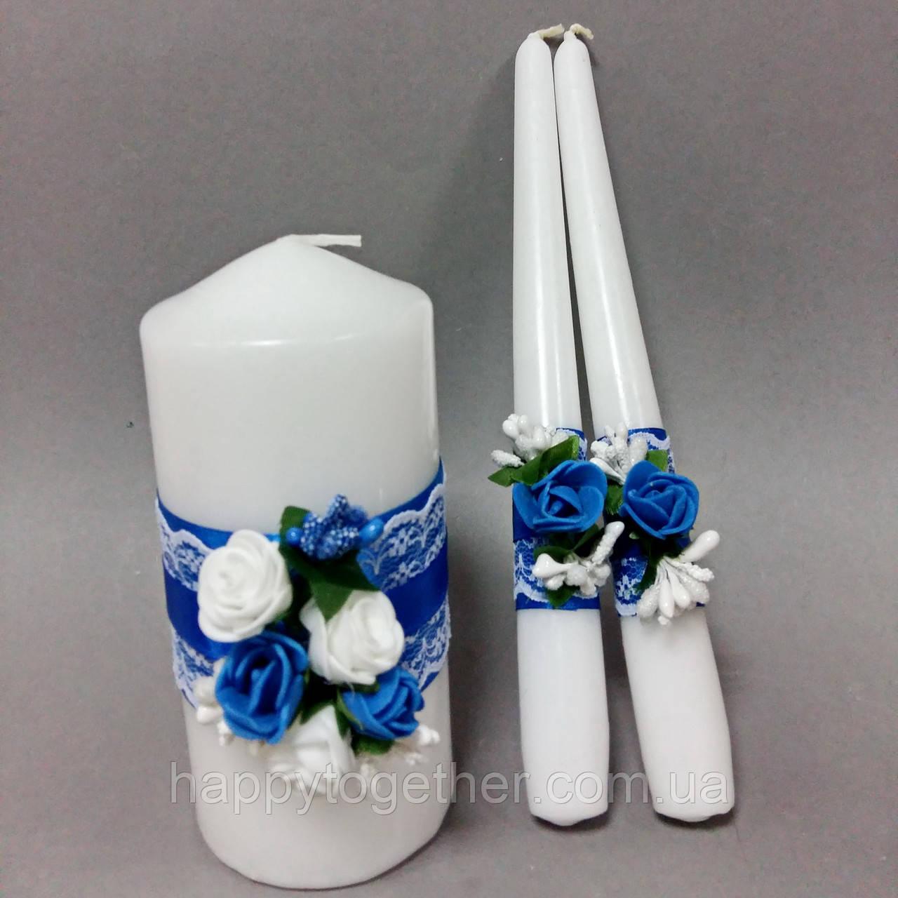 Весільні свічки квіткові сині