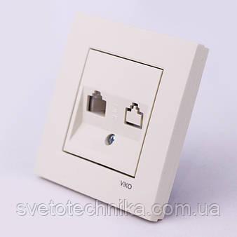 Розетка телефонная VI-KO Karre скрытой установки (белая)