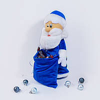 Чехол под шампанское Золушка дед мороз 40см Синий (454-2)