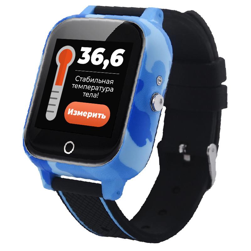 Детские смарт часы JETIX T-Watch с термометром,GPS трекером, телефоном, виброзвонком и датчиком падения (Blue)